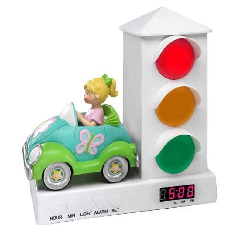 Stoplight alarm clock for kids
