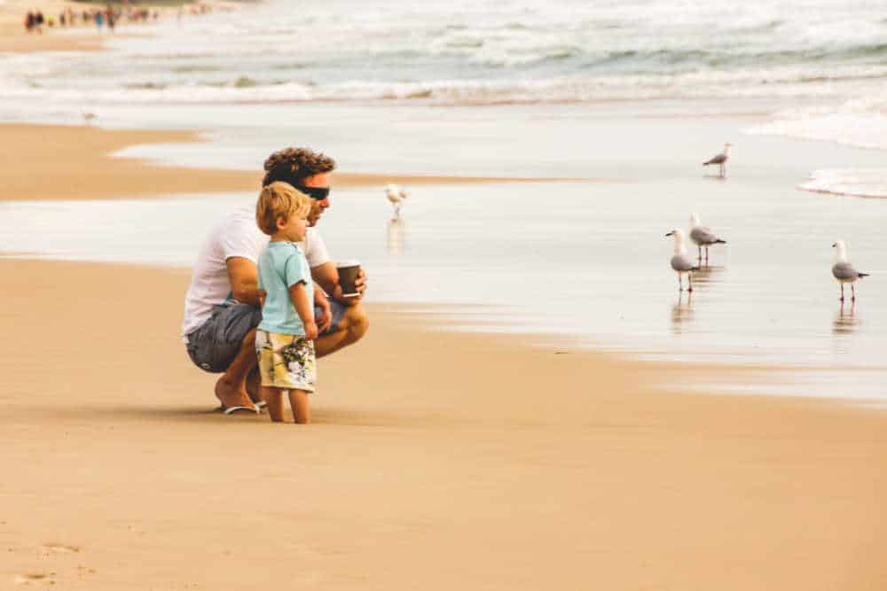Dad and toddler on the beach looking at the ocean.